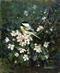 Chickadee & Blossoms