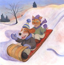 Sledding Dog and Cat