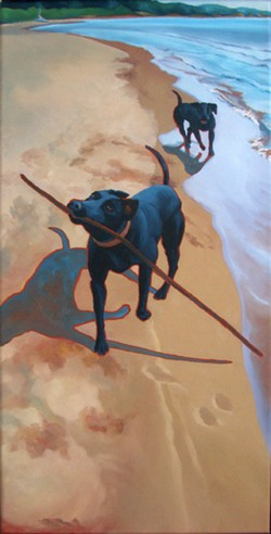 Two Black Dogs by Whitefish Bay