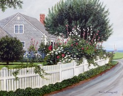 Cottage and Hollyhocks