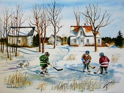 Kids on Pond with House