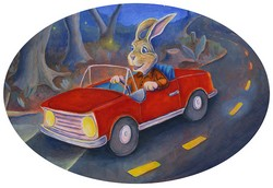 Bunny Driving at Night